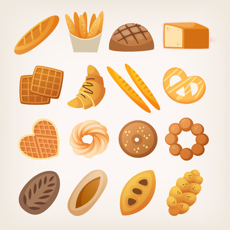 Set of buns and breads for everyday use from bakery. Isolated vector illustrations.