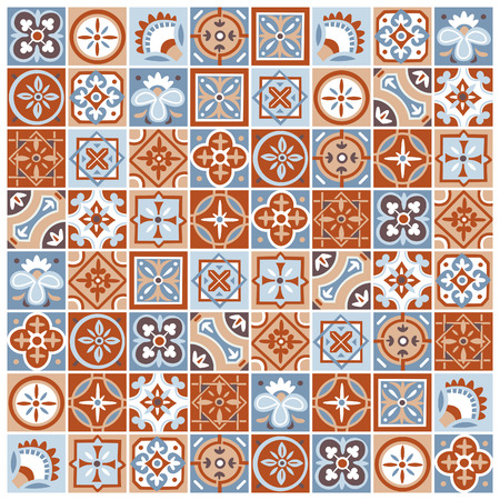 Classic vector pattern of abstract square floral and geometric tiles. Traditional portugese and arabic ceramic wall decoration.