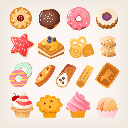 Set of colorful sweet desserts, cookies and other pastry Isolated vector illustrations.