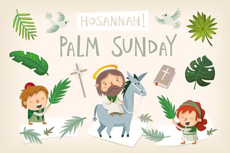 Gesù cavalca un asino entrando a Gerusalemme. La gente lo saluta con rami di palma e urla Osanna. Vettore biblico dell'illustrazione di storia di pasqua. Vettoriali