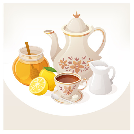 Kettle, cup of tea and additives served on a table for a refreshing morning cup of tea. Çizim