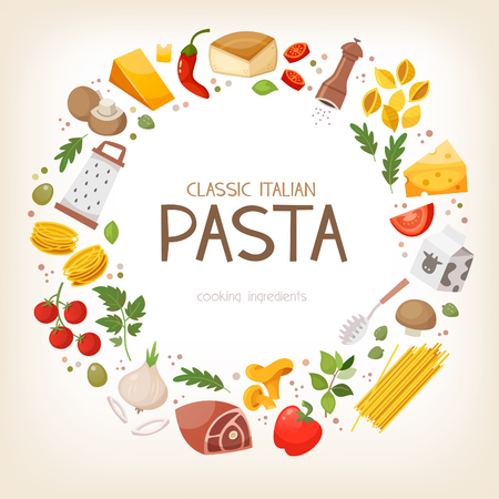 Group of vegetables and pasta ingredients aranged in circle border. Vector illustration