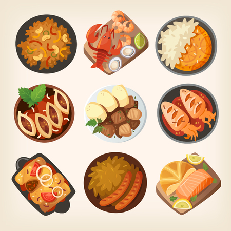 Dinner table closeup. Top view on classic dinner dishes from different countries of the world.