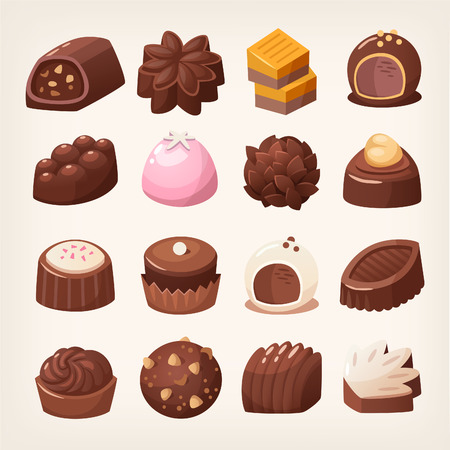 Delicious dark and white chocolate candies in various shapes and flavors. Isolated vector images. Stock Illustratie