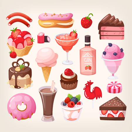Set of various delicious desserts food with fruit, chocolate and strawberry flavors. Isolated vector illustrations