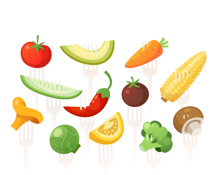 Set of healthy vitamin full vegetables pined on forks. Vector images for healthcare designs.  Stock Illustratie