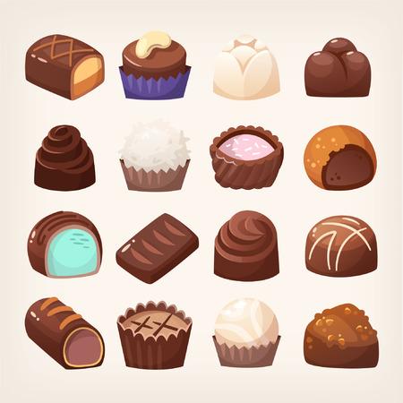 異なる充填物やトッピングと様々な形態のチョコレートスイーツの幅広い選択。