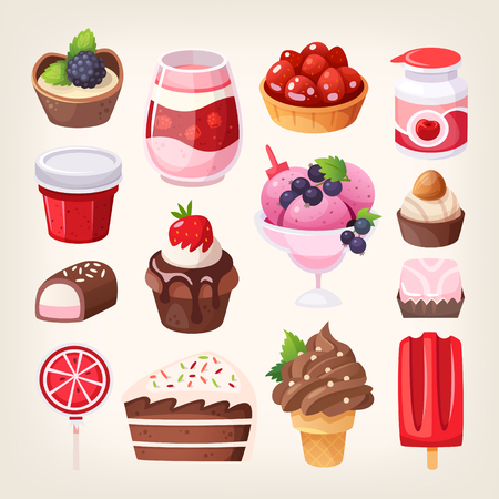 Set of various tasty sweets and desserts made of chocolate, strawberry and fruit. Dairy, pastry and confectionary goods. Isolated vector illustrations.   Stock Illustratie