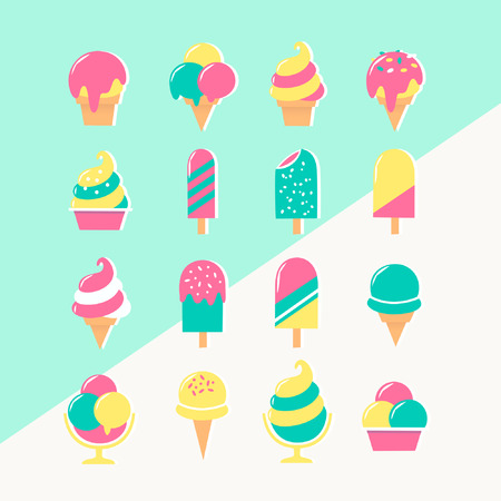 Ice cream set of icons in pastel colors on two colored background.