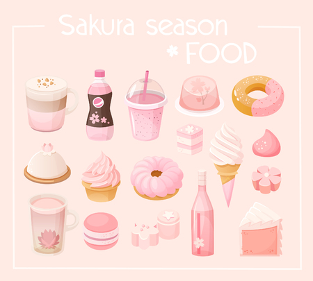 Set of various pastel pink colored sweets and desserts. Stock Illustratie