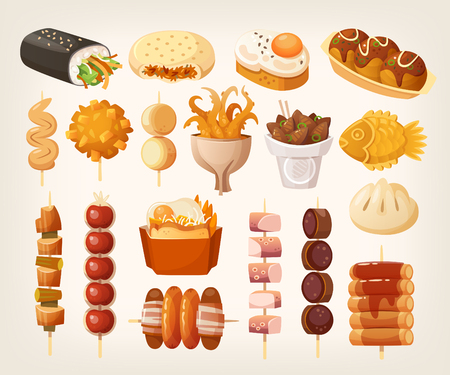 Set of fresh delicious fast foods from asian streets. Variety of snacks. Vector illustrations.