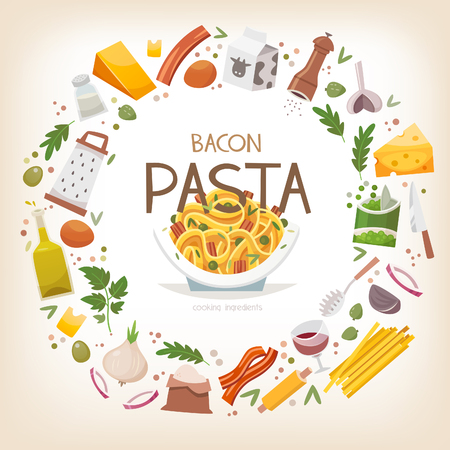 Group of vegetables, dairy products and pasta ingredients arranged in circle border around pasta with peas and bacon dish in plate. Vector illustration Stock Illustratie