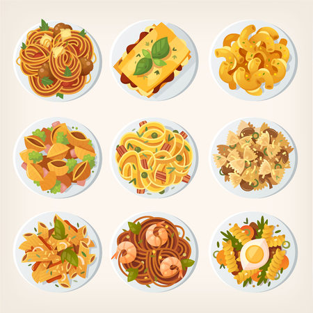 Set of many different kinds of pasta dishes from top. Vector illustrations view from above. Иллюстрация