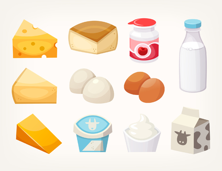 Set of most common dairy food products. Some kinds of cheese, milk packages and yogurts. Isolated vector illustrations