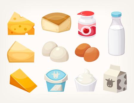 Conjunto de productos lácteos más comunes. Algunos tipos de quesos, envases de leche y yogures. Ilustraciones vectoriales aisladas
