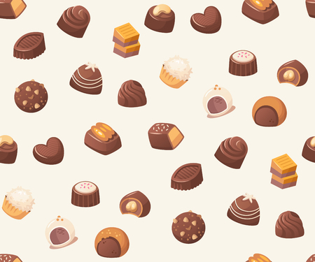 Seamless vector pattern with chocolate sweets on white background. Stock Illustratie