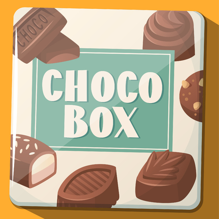 Retro metal box with chocolate sweets. Vector illustration