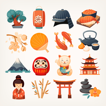 Set of Japanese travel icons. Symbols of the island. Various sights and famous elements from all parts of the island. Isolated vector illustrations. Stock Illustratie