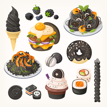 Squid ink pasta, charcoal ice cream, ash risotto and other foods in black color. Isolated vectors