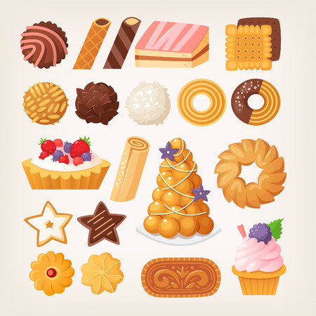 Delicious pastry products in different shapes and flavors made from various kinds of dough. Cookies and biscuits, cakes and waffles. Isolated vector images for your designs.