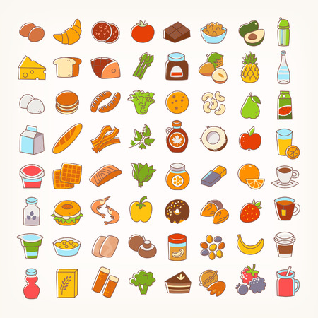 Set of colorful line stroke icons of food groups and goods. Big variety of dairy products, bakery, meat and seafood, fruit and vegetables, desserts and drinks. Vector flat elements for your designs Ilustração