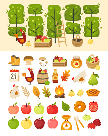 A scene with apple garden trees and elements in front of it. Plus icons of various apple theme items, foods and containers.  Isolated vector illustrations