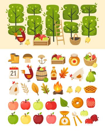 Une scène avec des pommiers et des éléments devant elle. Plus des icônes de divers articles, aliments et contenants sur le thème de la pomme. Illustrations vectorielles isolées