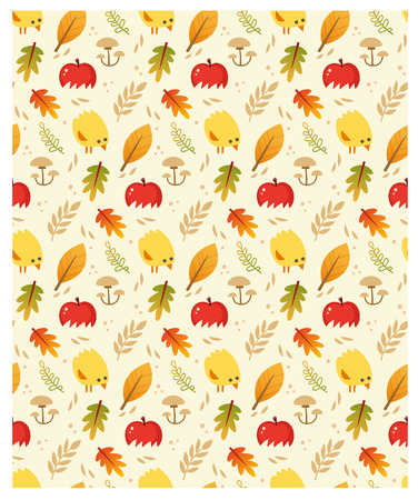 Seamless vector autumn pattern with leaves, apples and baby chicken. Stock Illustratie