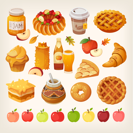 Big variety of apples icons and different kinds of baked food cooked from the fruit. Isolated vector images. Stock Illustratie