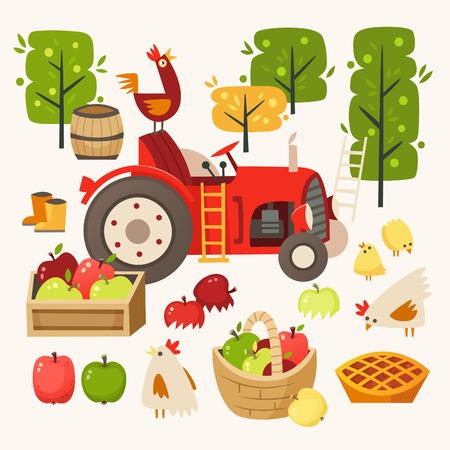 Set of images representing rural scene. Picking up apples at harvest time. Vector illustrations Stock Illustratie