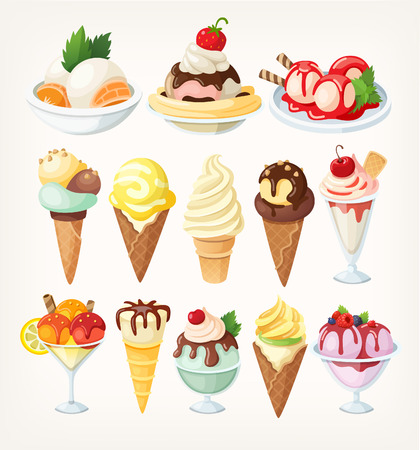 Set of colorful ice creams in waffle cups and cones and in glasses. Isolated vector illustration