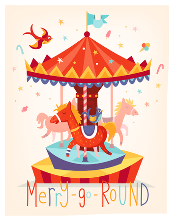 Vector card with merry go round carousel. Fun fair festival poster