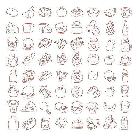 Set of flat thin line food icons. Vector elements.