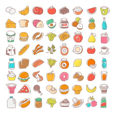 Ensemble d'icônes de nourriture plat mince ligne. Éléments vectoriels.