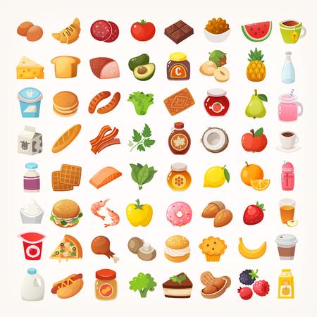 Gran numero di alimenti di varie categorie. Icone vettoriali isolate