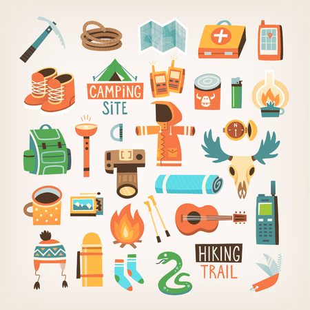 Collection of items for hiking, backpacking and traveling into the wild.  Isolated vector icons.