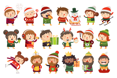 Christmas characters children and adults celebrating upcoming holidays. Stock Illustratie