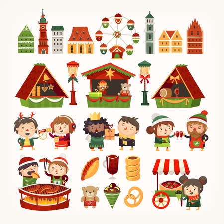 Set of Christmas market elements. Classic European buildings, tents selling goods, people cooking winter treats. Stock Illustratie