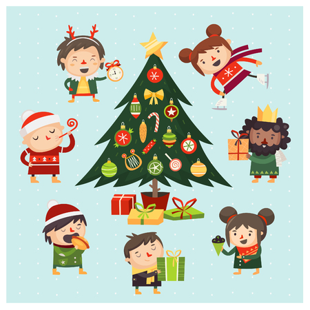Cartoon children and adults gathered around Christmas tree decorated with various toys. Stock Illustratie
