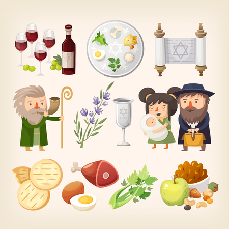 Set of images related to Passover or Pesach holiday. Stock Illustratie