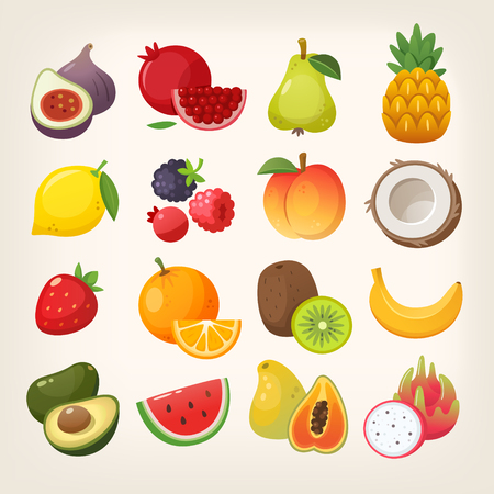 Set of exotic and common fruit icons.