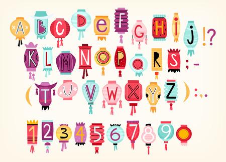 Colorful cartoon  alphabet with letters and numbers drawn on Chinese paper lanterns.