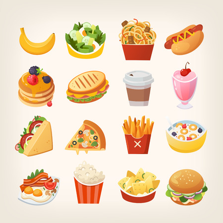 Colorful breakfast food icons. Meals and snacks for a quick lunch.