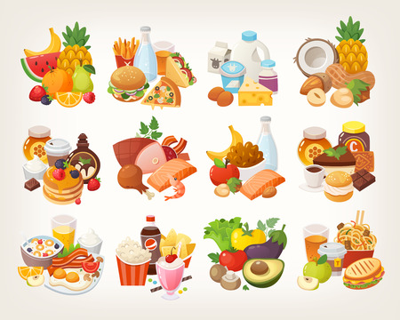 Set of food icons arranged in categories. Fruit and vegetables, meat and dairy, desserts and breakfast foods. Stockfoto