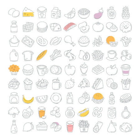 Set of line food icons. Bakery, dairy food, fruit and vegetables.