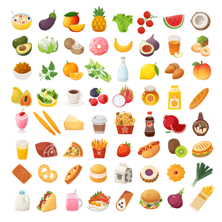 Set of colorful food icons. Bakery, dairy food, fruit and vegetables.