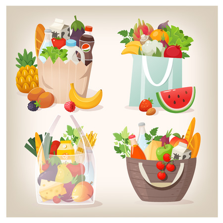 Set of various shopping bags filled with fruit, vegetables and other healthy goods from grocery store or local market. Stock Illustratie