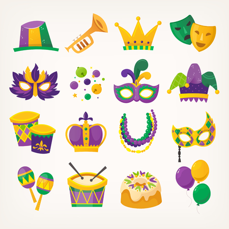 Set of colorful attributes for celebrating Mardi Gras - traditional spring holiday and carnival parade in New Orleans. Stock Illustratie