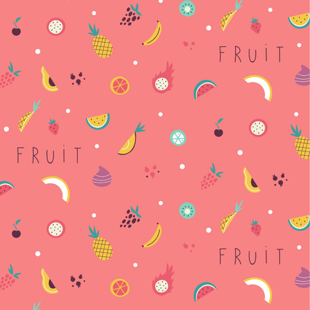 Small fruit and vegetables icons pattern. Stock Illustratie