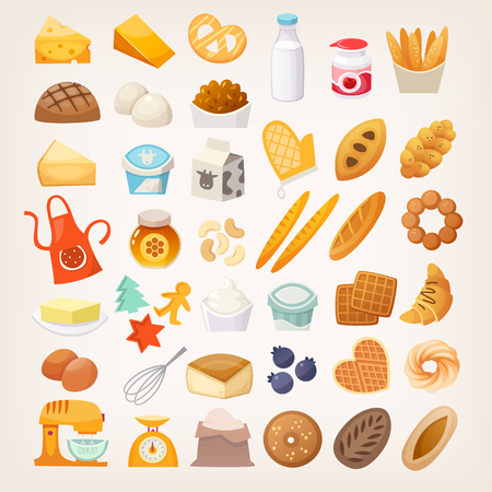 Set of ingredients for cooking bread. Bakery products and tools icons. Stock Illustratie